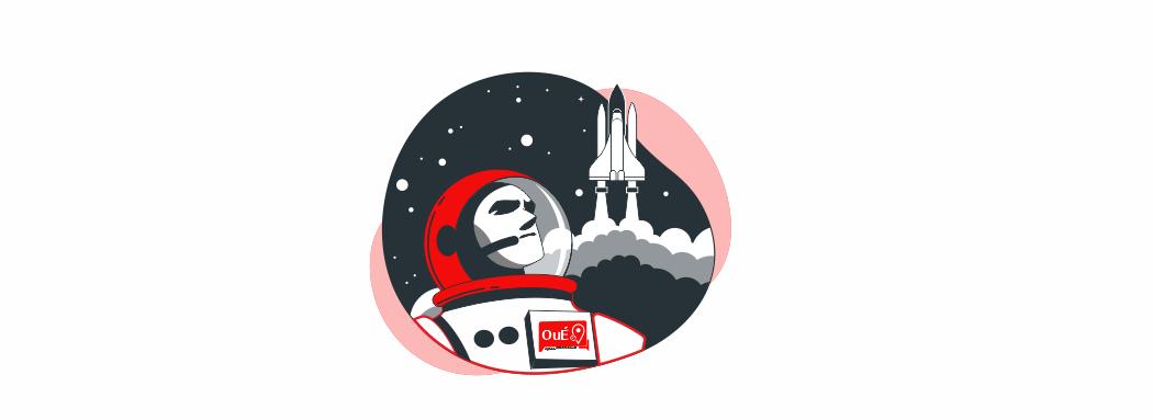an illustration of astronaut with rocket going in the sky Place à notre nouveau site web - Oué